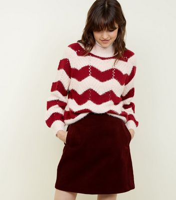 Tall Burgundy Corduroy Mini Skirt