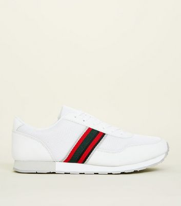 White Two-Tone Tape Side Stripe Trainers