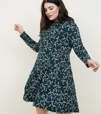 Curves Green Floral Soft Touch Skater Dress