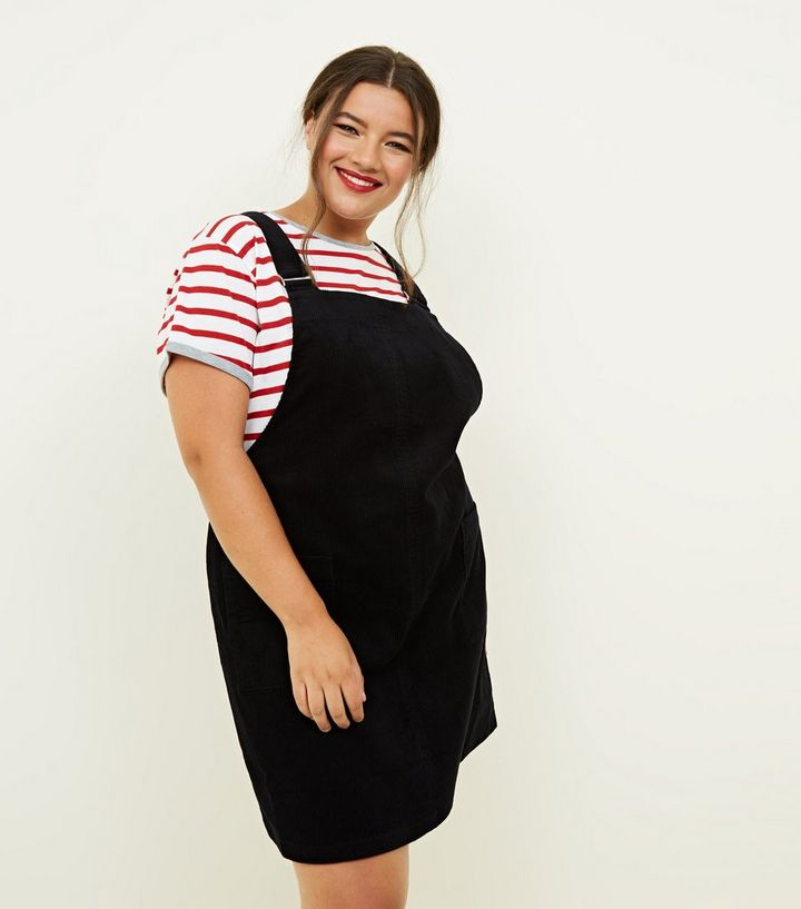 shades of browse latest collections good selling Curves Black Corduroy Pocket Front Pinafore Dress Add to Saved Items Remove  from Saved Items