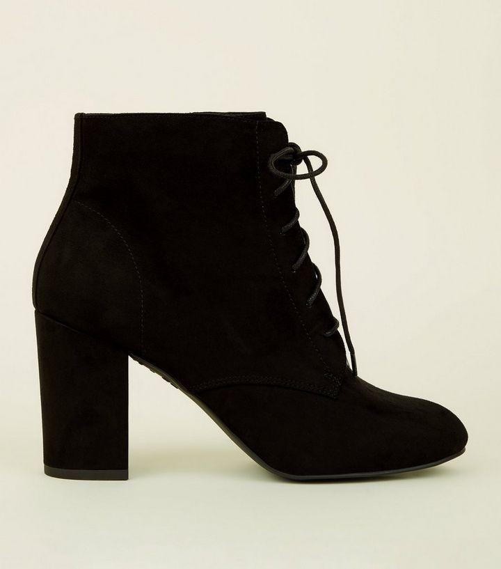 5163df659d Wide Fit Black Suedette Lace-Up Block Heel Boots