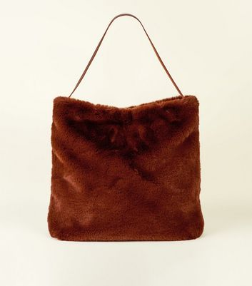 Tan Faux Fur Hobo Tote Bag