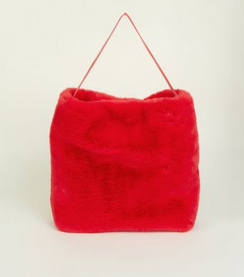 Red Faux Fur Hobo Tote Bag