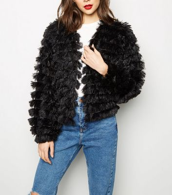Black Tiered Fluffy Cardigan