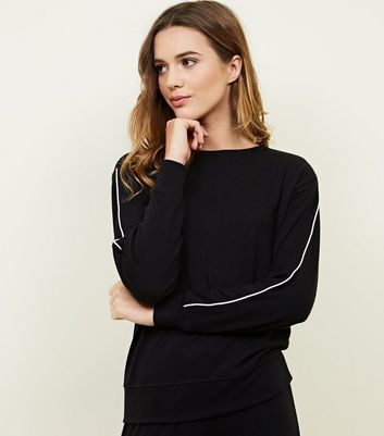 Black Side Stripe Pyjama Sweatshirt