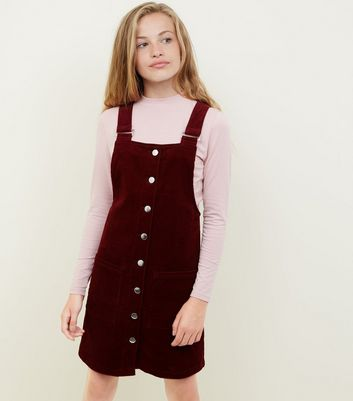 Girls Burgundy Corduroy Pinafore Dress