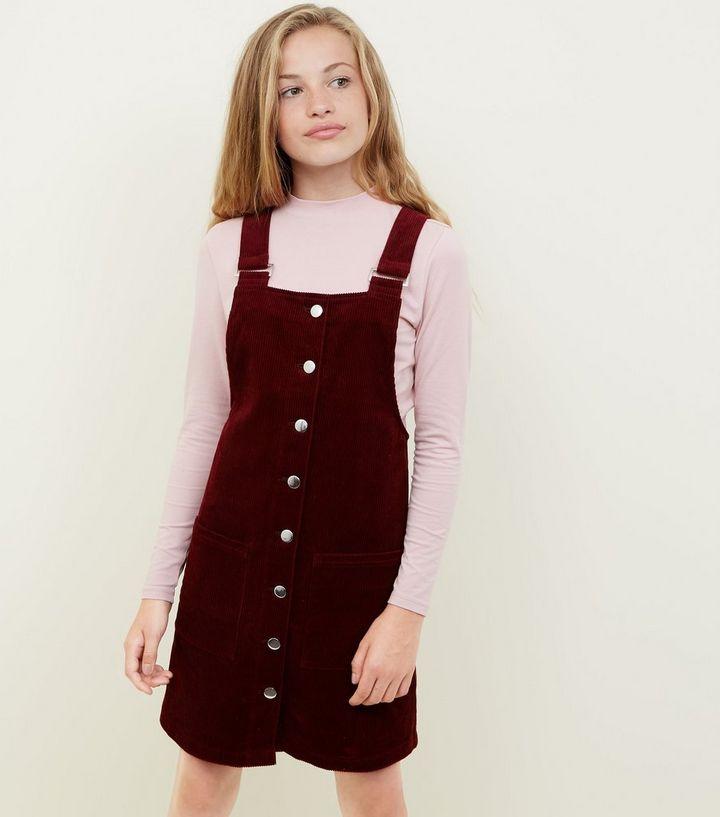 362f096df410 Girls Burgundy Corduroy Pinafore Dress | New Look