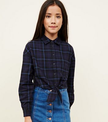 Girls Blue Tie Front Check Shirt