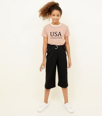 Girls Black D-Ring Belted Culottes
