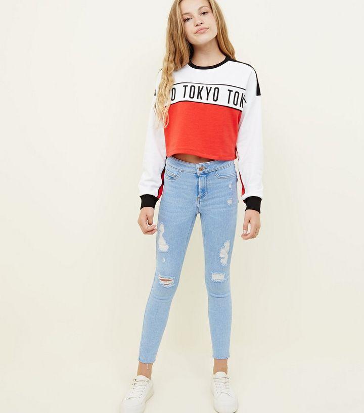 b6dabd2f5c2 Girls Pale Blue High Waist Ripped Super Skinny Jeans   New Look