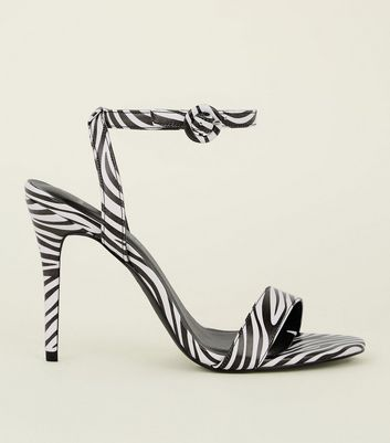 Wide Fit Black Zebra Print Stiletto Sandals
