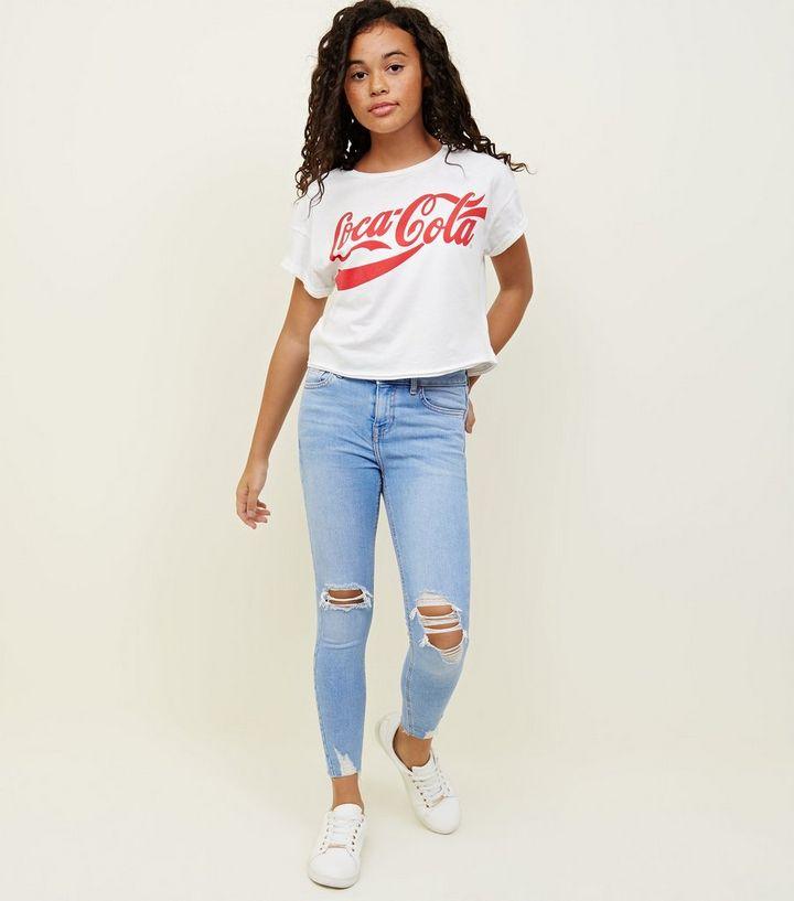 54c3fbf9b075 Girls Pale Blue Bleach Wash Ripped Skinny Jeans | New Look