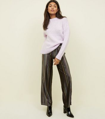 JDY Black Stripe Print Velvet Trousers
