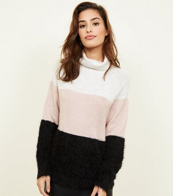 JDY Pink Colour Block Roll Neck Jumper