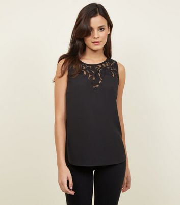 JDY Black Lace Yoke Sleeveless Top