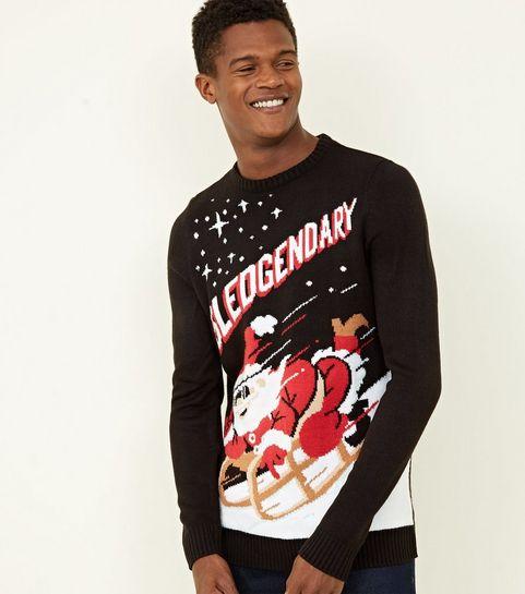 44a37430c06181 Black Sledgendary Slogan Christmas Jumper · Black Sledgendary Slogan  Christmas Jumper ...
