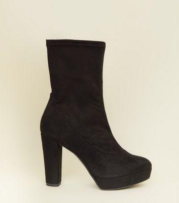Wide Fit Black Suedette Block Heel Platform Boots by New Look