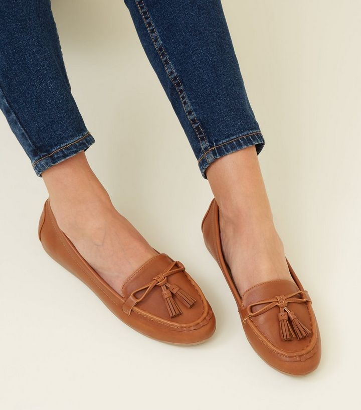 c1b86939071 ... Wide Fit Tan Leather-Look Tassel Loafers. ×. ×. ×. Shop the look