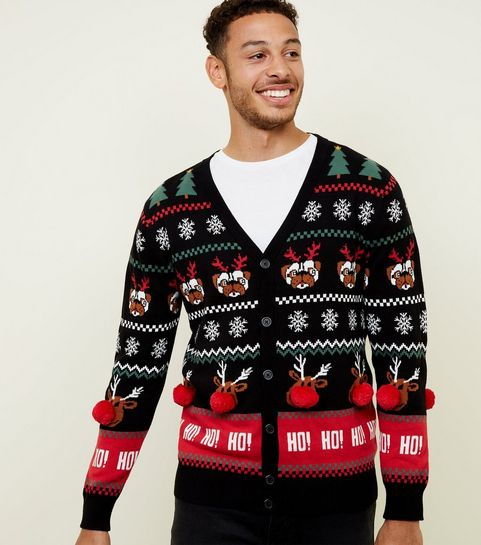 feee87ca49c767 ... Black Pom Pom Trim Christmas Cardigan ...