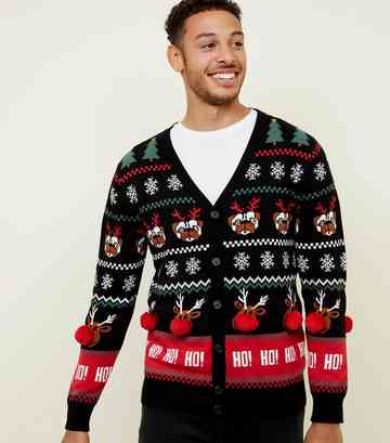 Black Pom Pom Trim Christmas Cardigan