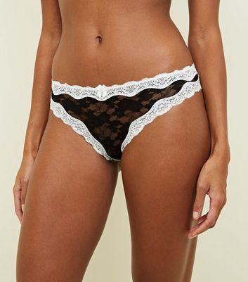 Black 2 Tone Lace Thong
