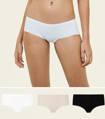 3 Pack Nude White and Black Seamless Short Briefs