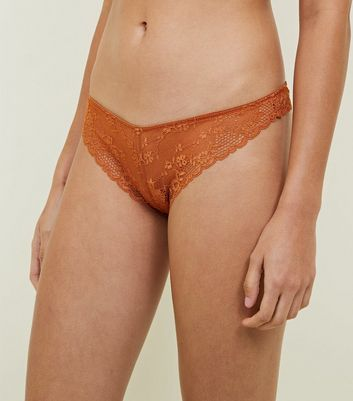 Orange Floral Scallop Lace Thong