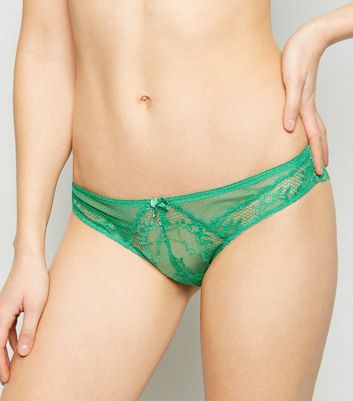 Green Lace and Mesh Brazilian Briefs