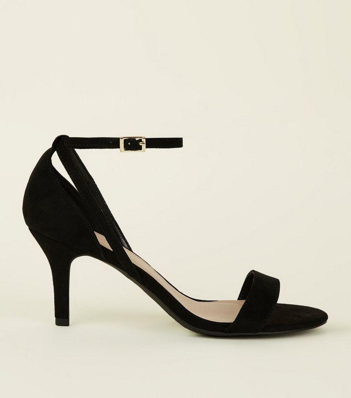 6046db126c5b Wide Fit Black Suedette Mid Heel Stiletto Sandals
