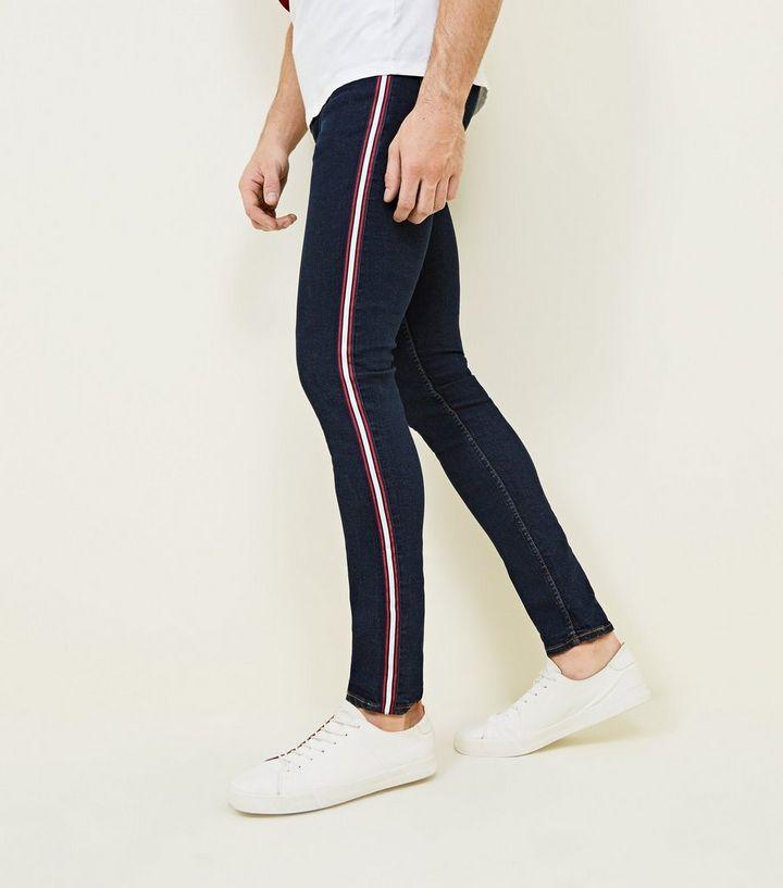 Turnschuhe 2018 großes Sortiment neue angebote Marineblaue, superenge Skinny Jeans mit seitlichen Streifen und  Stretch-Anteil Für später speichern Von gespeicherten Artikeln entfernen
