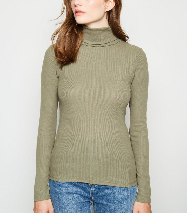466496a16d6 Khaki Ribbed Roll Neck Top | New Look