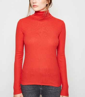 Red Ribbed Roll Neck Top