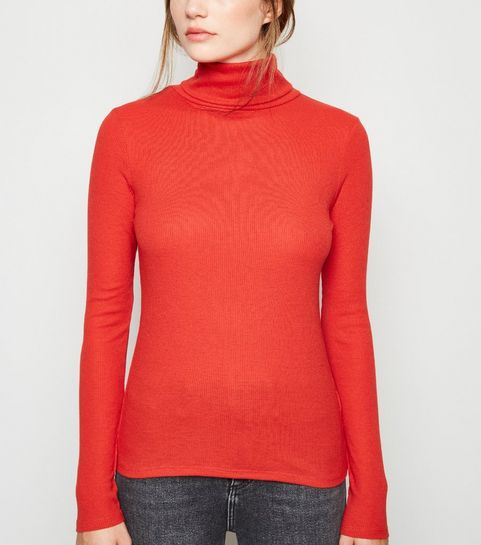 02734937513b11 ... Red Ribbed Roll Neck Top ...