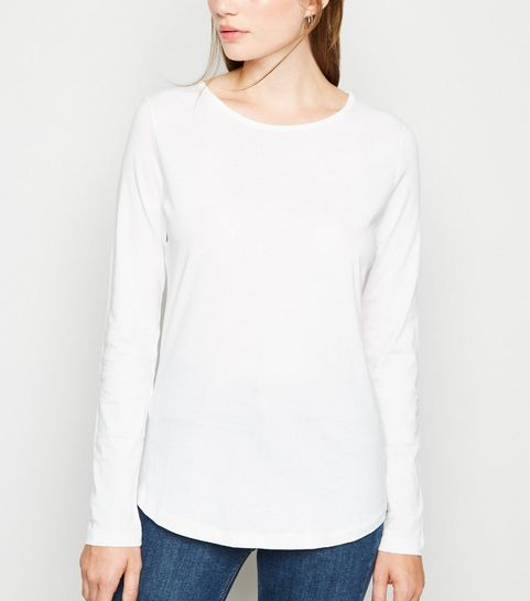 259b3c068db9d ... White Long Sleeve Crew Neck T-Shirt ...