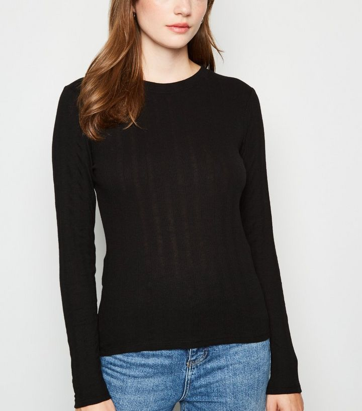 ab9f60d7d3f52b Black Ribbed Long Sleeve T-Shirt