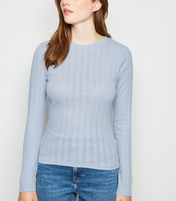 Pale Blue Ribbed Long Sleeve T-Shirt