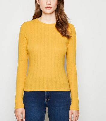 Mustard Ribbed Long Sleeve T-Shirt