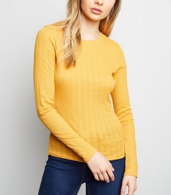 Pale Yellow Ribbed Long Sleeve T-Shirt