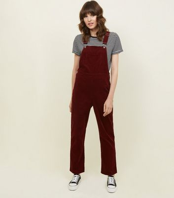 Burgundy Cotton Corduroy Dungarees by New Look