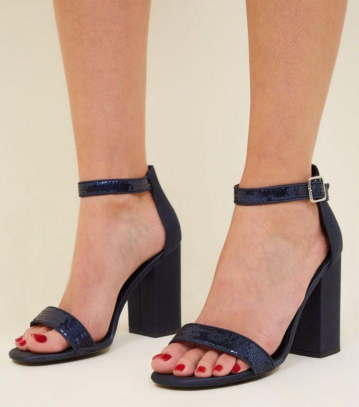 f5702a32a5d ... Navy Metallic Sequin Strap Block Heels. ×. ×. ×. Shop the look