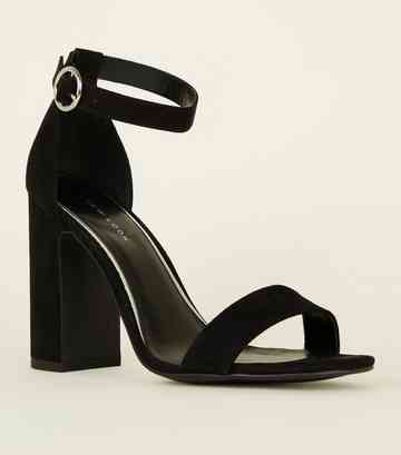 Black Suedette Ring Strap Block Heels