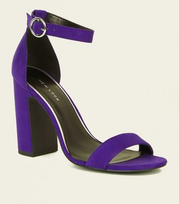 Deep Purple Suedette Ring Strap Block Heels