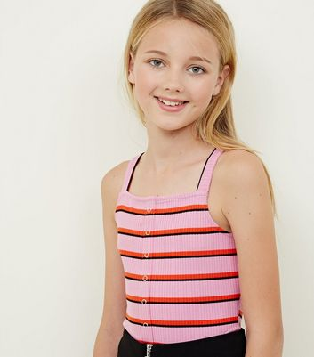 Girls Pink Stripe Popper Front Cami