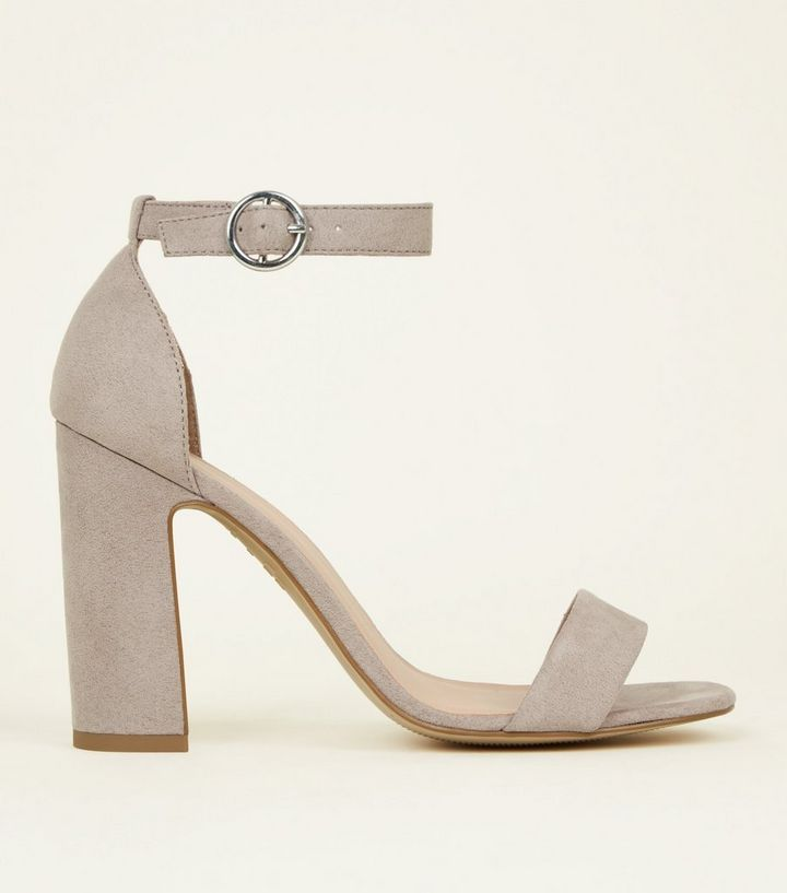67d2fd9b688c Grey Suedette Barely There Block Heels