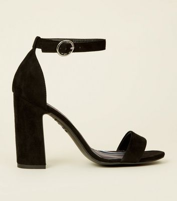 Black Suedette Stripe Lined Block Heels