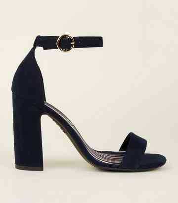 Navy Suedette Stripe Lined Block Heels