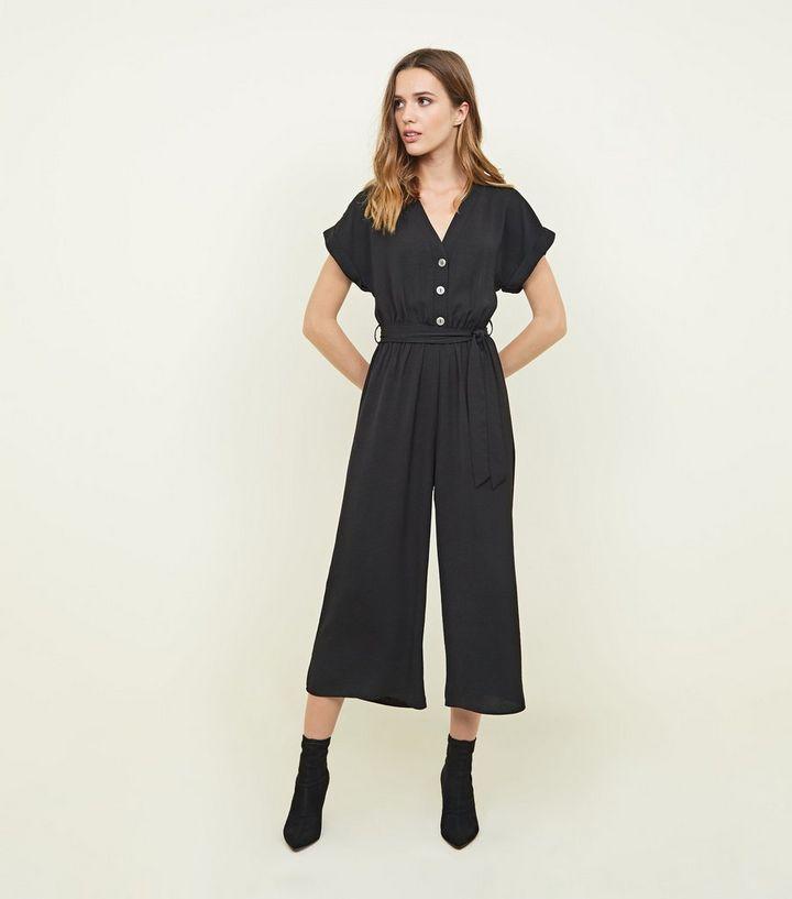 b398b016fb1 Black Button Front Linen-Look Jumpsuit