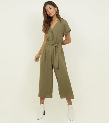 Khaki Button Front Linen-Look Jumpsuit