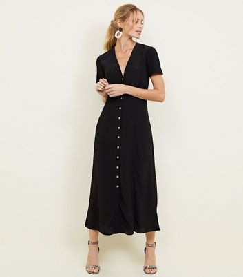 Black Button Front Midi Tea Dress
