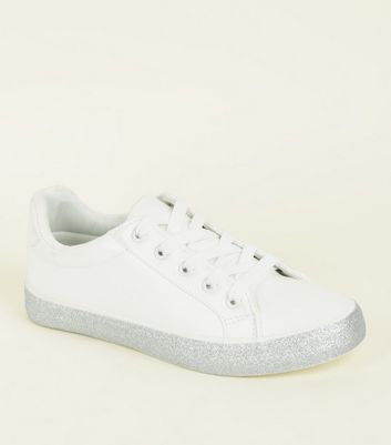 Girls White Glitter Sole Trainers